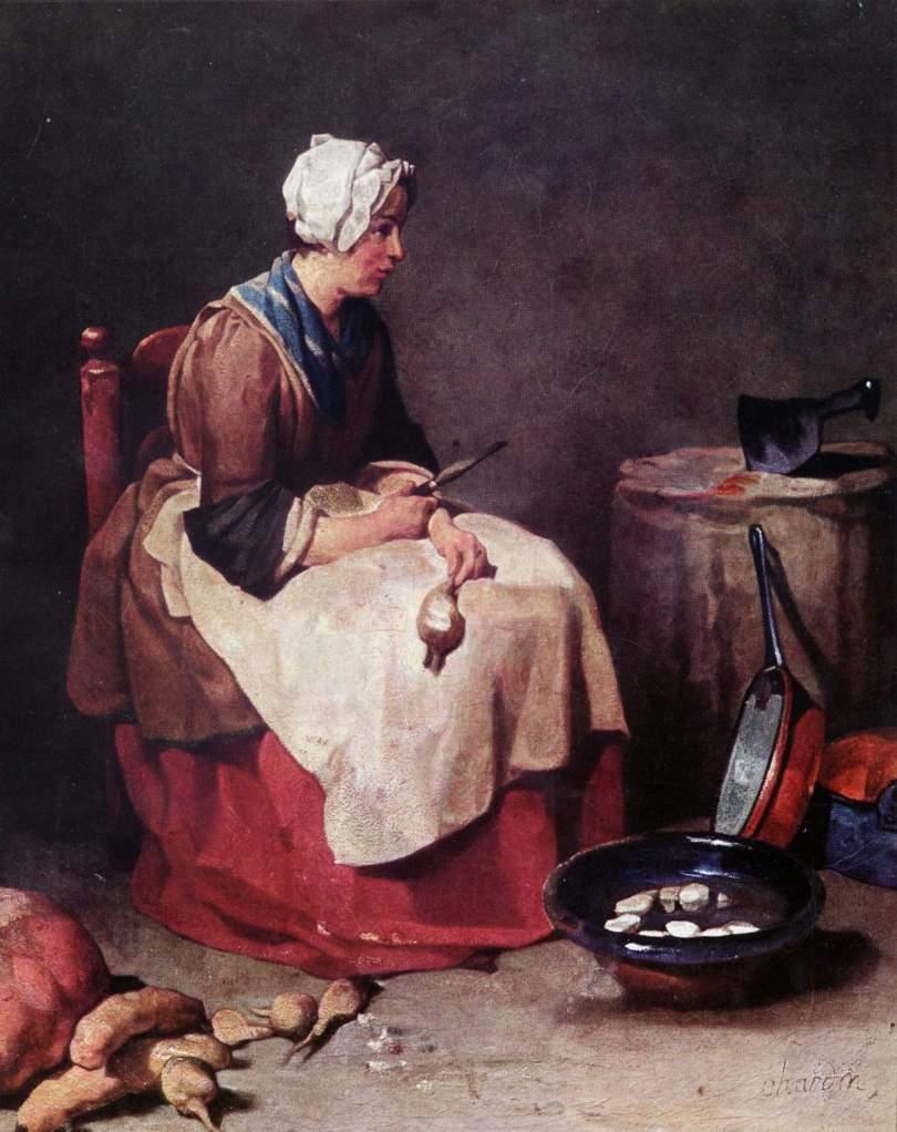 Woman peeling turnips, by Jean-Baptiste Simeon Chardin